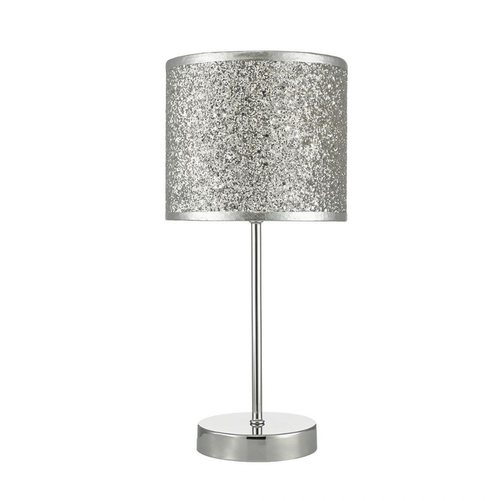 Bistro Table Lamp Touch Polished Chrome + Silver Glitter Shade (Double Insulated) BXBIS4132-17